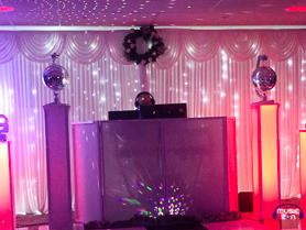DJ Booth with mirror balls